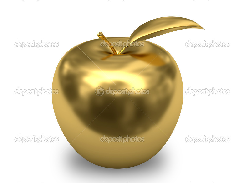 Golden apple on white background. High resolution 3D image. — Stock Photo #5516831