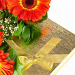 Gerberas with giftbox — Stock Photo