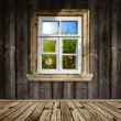 Wooden interior with window — Stock Photo
