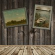 Wooden interior with old frames photos — Stock Photo