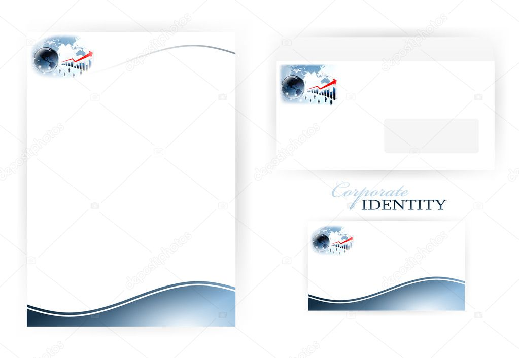 Set of corporate identity templates with glossy earth globe in business theme  — Stock Vector #5637089