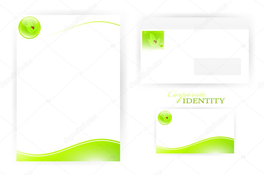 Set of corporate identity templates with green  eco elements — Stock Vector #5637090
