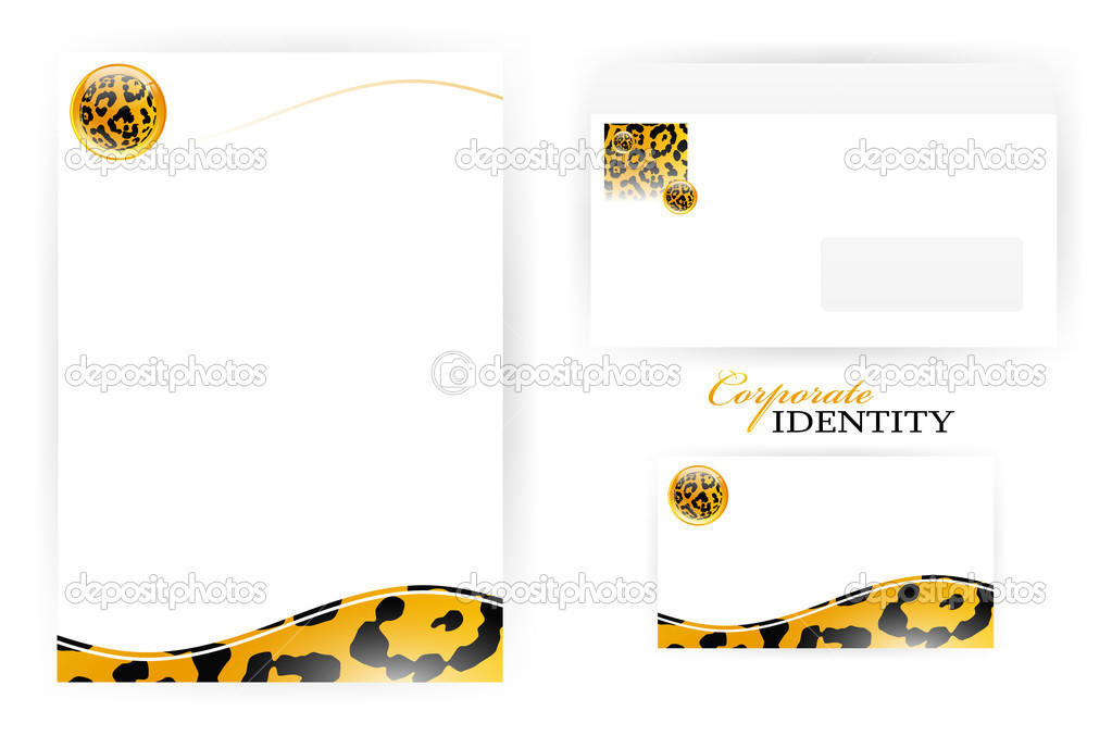 Set of corporate identity templates with  leopard pattern set  Stock Vector #5637092