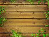 Wooden background with green leaves — ストックベクタ