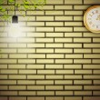 Royalty-Free Stock Vector Image: Vintage clock at brick wall in the night
