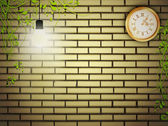Vintage clock at brick wall in the night — Stock Vector