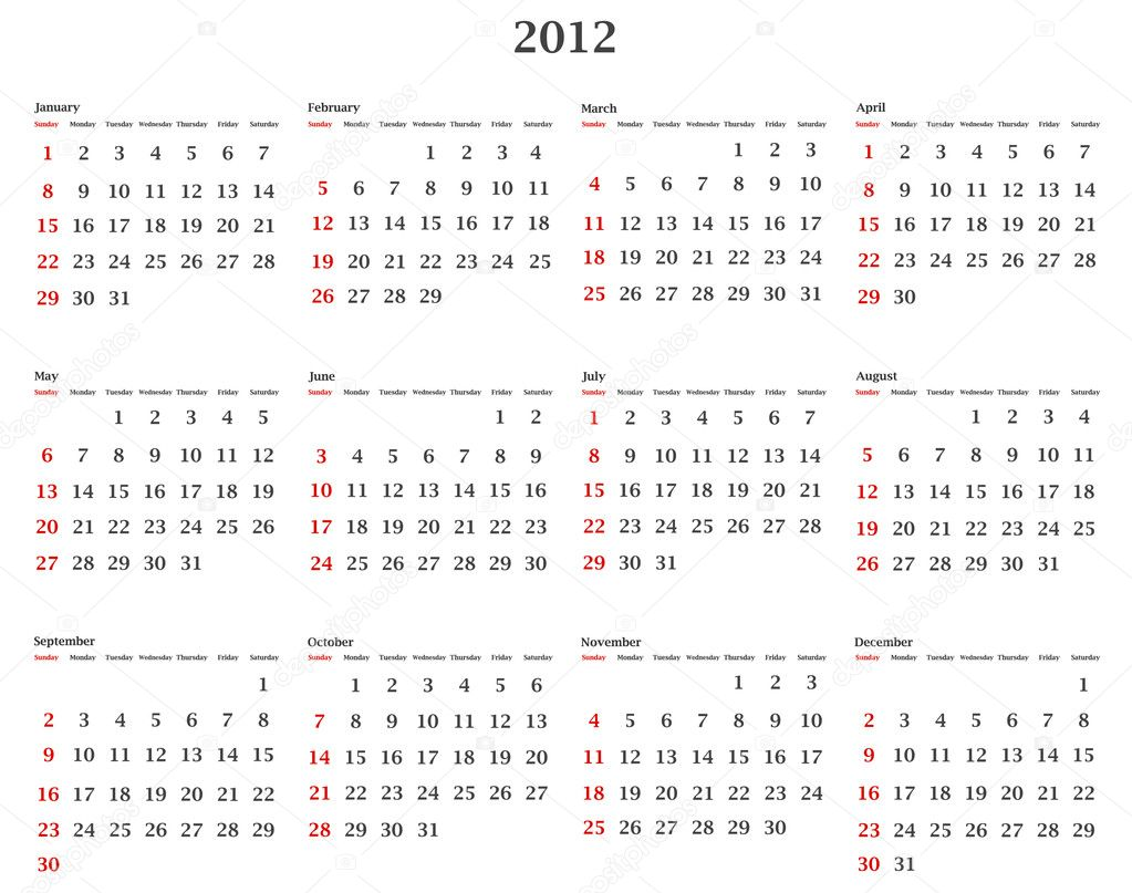 Illustration of horizontal 2012 calendar template  — Stock Vector #6078811
