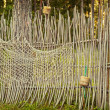Fence with fishing net - 图库照片