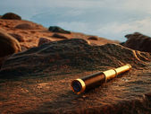 Antique brass telescope — Stock Photo