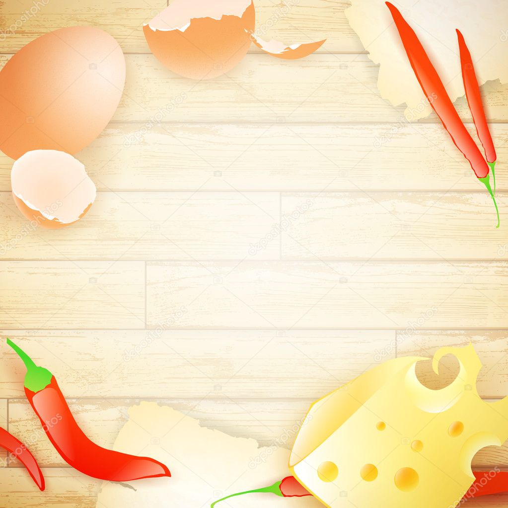 Some food elements (egg, cheese and pepper) at wooden background, copyspace  Stock Vector #6434925
