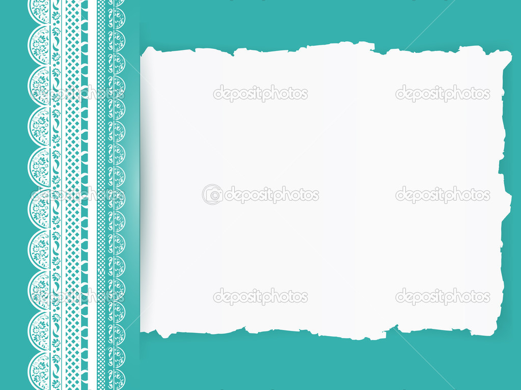 Lace frame with torn paper at turquoise colour background  — Stock Vector #6434997