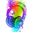 Colorful design with headphones — Stock Vector