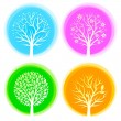 Four seasons vector trees — Stockvektor