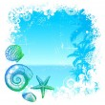 Sea inhabitants & tropical background — Stock Vector