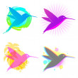 Stock Vector: Hummingbird vector emblems