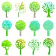 Stock Vector: Set of trees emblem