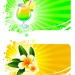 Frames with cocktail and tropical flowers — Stock Vector