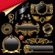 Set of royal golden design elements - Stock Vector