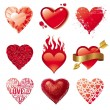 Vector set of Valentines hearts — Stock Vector