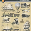 Set of vintage historical transport - Imagen vectorial