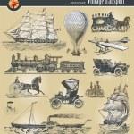 Set of vintage historical transport — Stock Vector