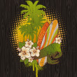 Vintage tropical surfing emblem