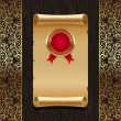 Vintage paper scroll with golden seal - Stock Vector