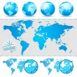 Stock Vector: World maps and globe