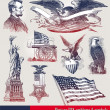 USA patriotic emblems & symbols — Stockvector