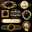 Set of golden luxury ornate frames — Imagen vectorial