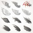 Stock Vector: Vector set of wings