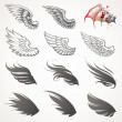 Vector set of wings — Stockvectorbeeld
