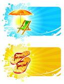 Beach resorts vector frames — Stock Vector