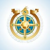Golden compass rose — Stock Vector