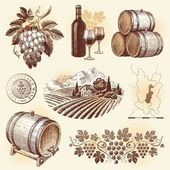 Vector set - wine and winemaking — Stock Vector