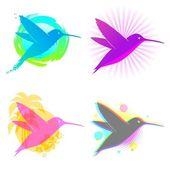 Hummingbird vector emblems — Stock Vector
