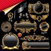 Conjunto de elementos de diseño real de oro — Vector de stock