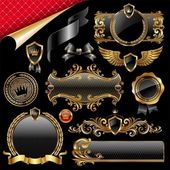 Insieme di elementi di design golden royal — Vettoriale Stock