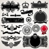 Set of royal ornate frames and elements — Stock Vector