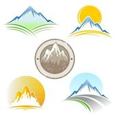 Set of mountains emblem — Stock Vector