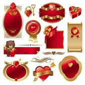 Valentines set with frames & hearts — Vecteur