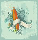 Vector hand drawn surfing emblem — Stock Vector