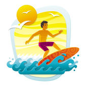 Surfing in tropical sea — Stock Vector