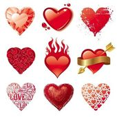 Vector set of Valentines hearts — Vector de stock