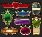 Set of golden luxury framed label — Stock Vector