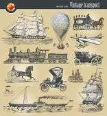 Set of vintage historical transport — Vector de stock
