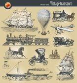 Set van vintage historische vervoer — Stockvector