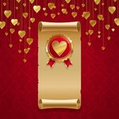 Vintage scroll & badge with heart — Stockvector