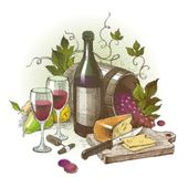 Vector vintage still life with wine — Vector de stock