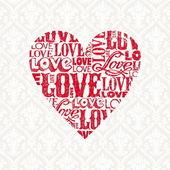 Carta di san valentino vettoriale con cuore — Vettoriale Stock